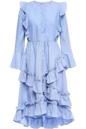 GANNI Faulkner ruffled cotton-poplin dress