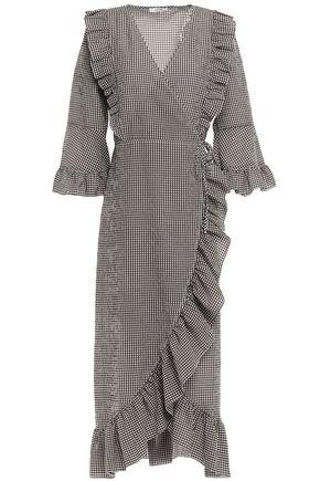GANNI Charron Ganache gingham cotton-blend seersucker midi wrap dress