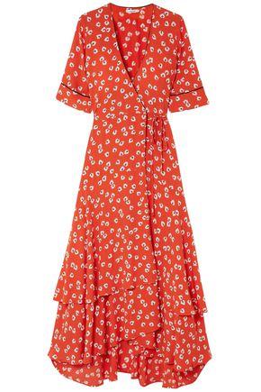GANNI Silvery crepe floral-print midi wrap dress