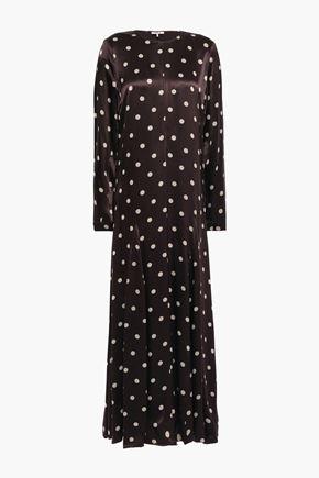 GANNI Cameron fluted printed satin maxi dress