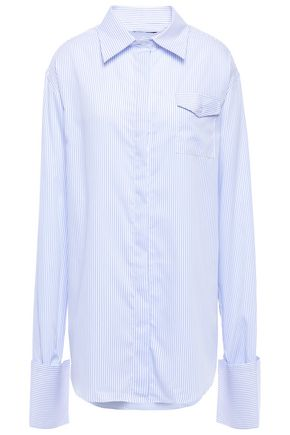 ANNA QUAN Convertible striped cotton-jacquard shirt