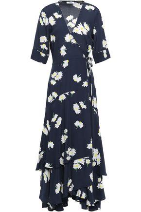 GANNI Silvery floral-print crepe de chine midi wrap dress