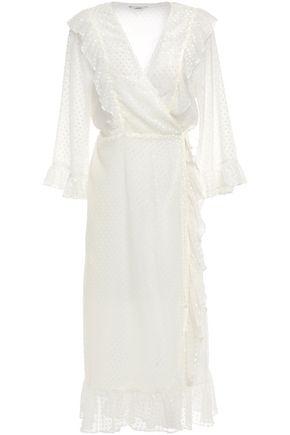 """GANNI فستان ملتف متوسط الطول """"جاسمين"""" من النسيج الرقيق الوبري مع كشكش"""