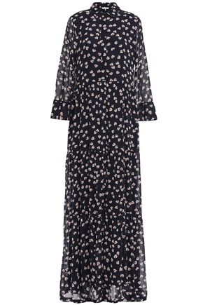GANNI Rometty floral-print georgette maxi shirt dress