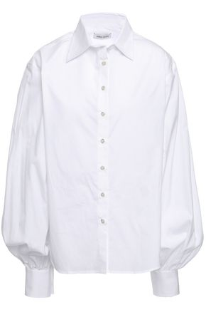 ANNA QUAN Castiglia gathered cotton-poplin shirt