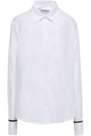ANNA QUAN Silk satin-trimmed cotton-twill shirt