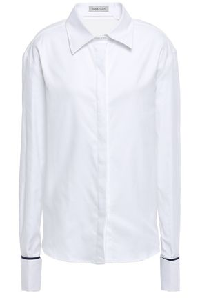 ANNA QUAN Open-back silk satin-trimmed cotton-twill shirt