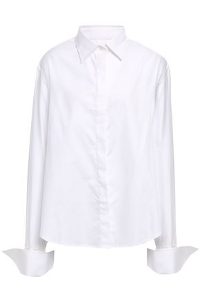 ANNA QUAN Anne silk satin-trimmed cotton-twill shirt
