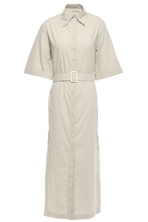 ANNA QUAN Zola belted cotton-popin midi shirt dress