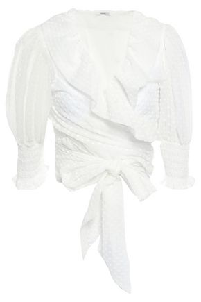 GANNI Jasmine flocked tulle wrap top