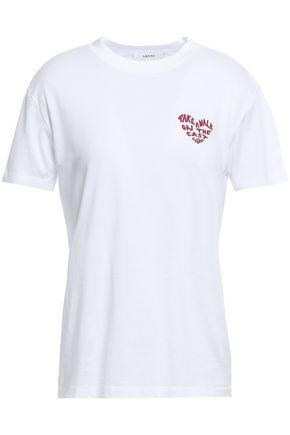 GANNI Embroidered cotton-jersey T-shirt