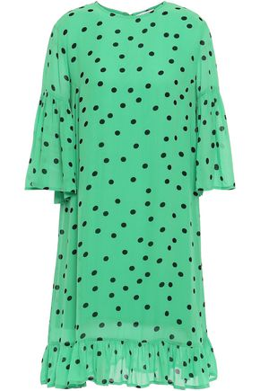 GANNI Gathered polka-dot crepe dress