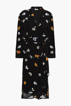 GANNI Dainty floral-print georgette wrap dress