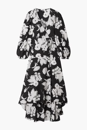 GANNI Floral-print silk wrap dress