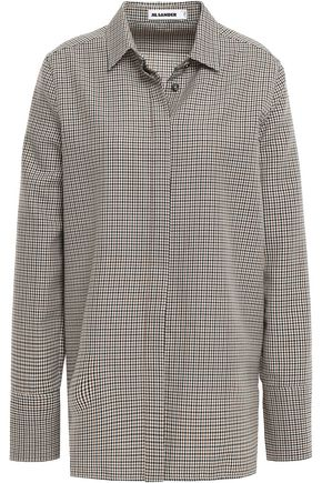 JIL SANDER Checked wool-jacquard shirt