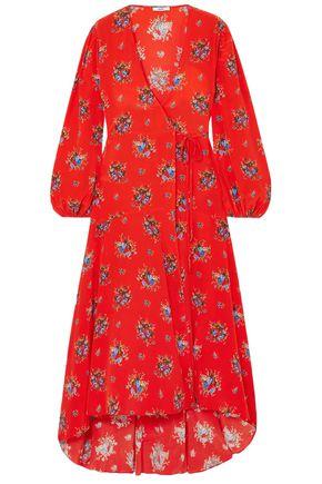 "GANNI فستان طويل ""كوشار"" بتصميم ملفوف من قماش كريب دي شين الحريري المطبع بالورود"