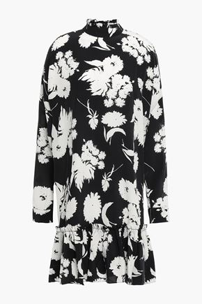 GANNI Ruffled floral-print silk-crepe dress