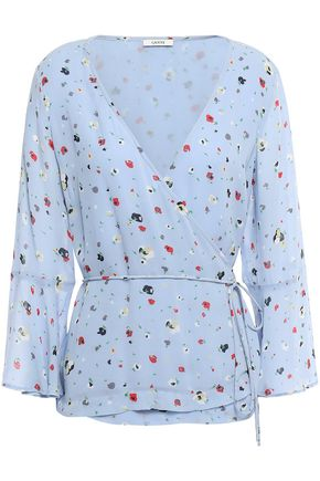 GANNI Dainty printed georgette wrap top