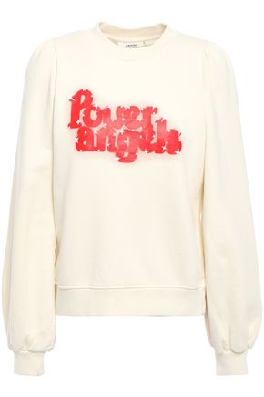 GANNI Printed French cotton-terry sweatshirt