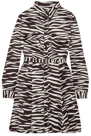 GANNI Zebra-print stretch-silk satin mini dress