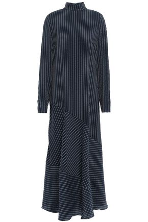 GANNI Lynch pinstriped silk-blend seersucker maxi dress
