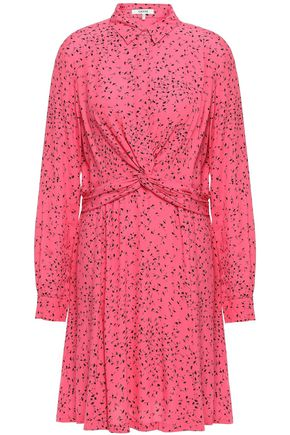 GANNI Barra twist-front floral-print crepe shirt dress