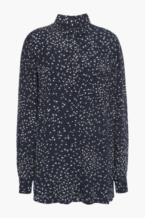 GANNI Barra floral-print crepe shirt