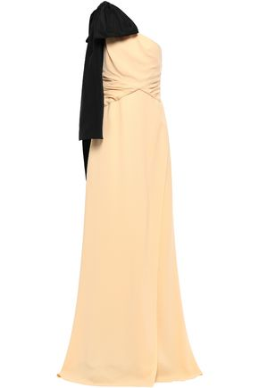 ROCHAS Bow-embellished one-shoulder twist-front crepe gown