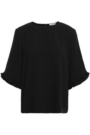 GANNI Ruffle-trimmed stretch-crepe top