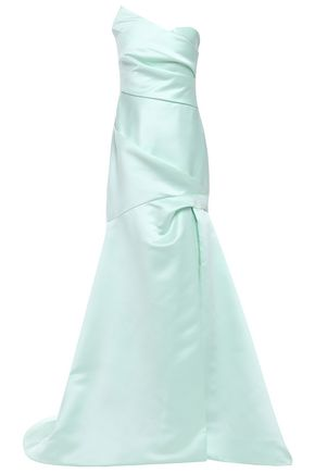MONIQUE LHUILLIER Strapless fluted duchesse-satin gown