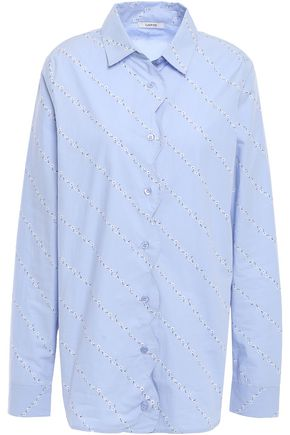 GANNI Faulkner scalloped floral-print cotton-poplin shirt