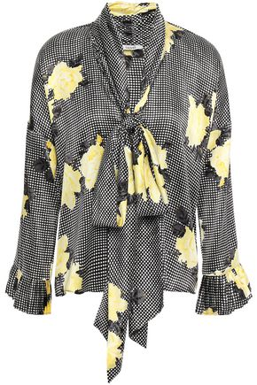 GANNI Pussy-bow leopard-print silk-blend satin blouse