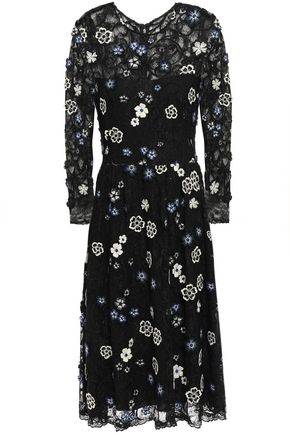 LELA ROSE Floral-appliquéd embroidered Chantilly lace dress