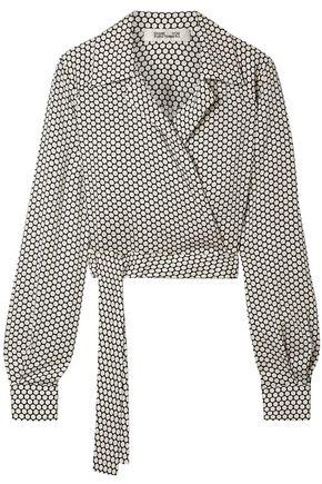 DIANE VON FURSTENBERG Cropped polka-dot crepe de chine wrap shirt