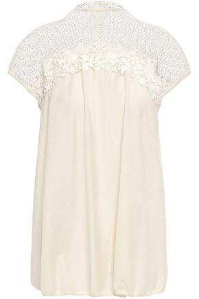 GIAMBATTISTA VALLI Floral-appliquéd guipure lace-paneled cashmere and silk-blend top