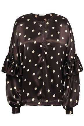 GANNI Ruffled polka-dot satin blouse