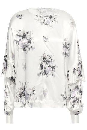 GANNI Ruffled polka-dot satin blouse