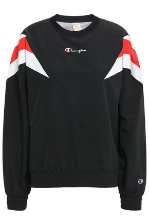 CHAMPION Striped logo-embroidered shell sweatshirt