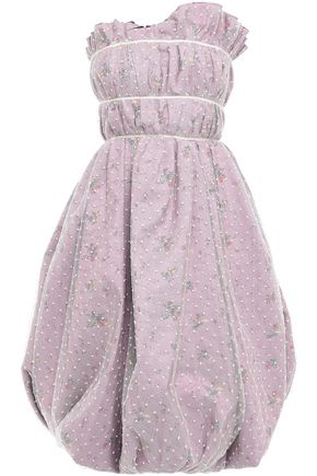 BROCK COLLECTION Strapless gathered Swiss-dot and cotton-blend jacquard dress