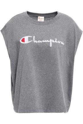 CHAMPION Logo-embroidered mélange cotton-jersey T-shirt