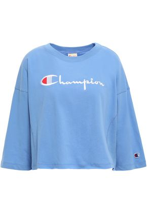 CHAMPION Logo-embroidered cotton-jersey top