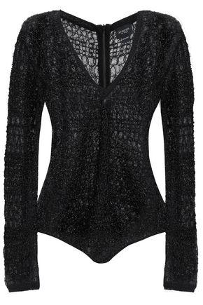 GIAMBATTISTA VALLI Metallic open-knit wool and angora-blend bodysuit