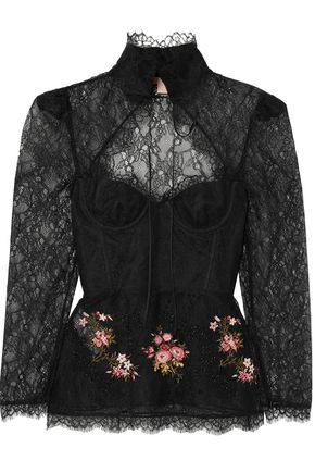 BROCK COLLECTION Cutout embellished embroidered lace blouse