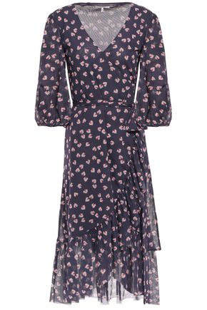 GANNI Tilden floral-print stretch-mesh wrap dress