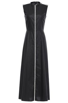 CHRISTOPHER KANE Crystal-embellished cotton-poplin midi dress