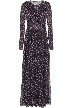 GANNI Tilden wrap-effect floral-print mesh maxi dress