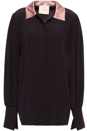 ROKSANDA Satin-trimmed silk crepe de chine shirt