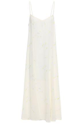 GANNI Floral-print silk crepe de chine midi slip dress