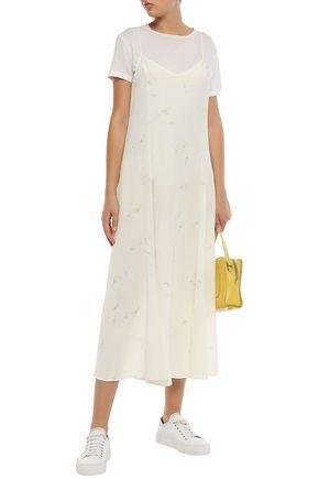 GANNI フローラルプリント シルククレープデシン ミディスリップドレス