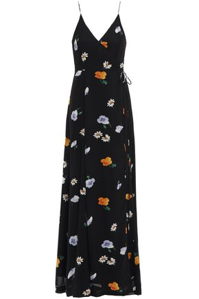 GANNI Floral-print georgette maxi wrap dress